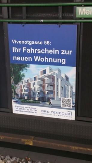 """""""Eigentum und Anlage"""" verspricht ein Wohnprojekt in 1120 Wien. Gesehen in Ubahnstation Niederhofstraße. Frühjahr 2014."""
