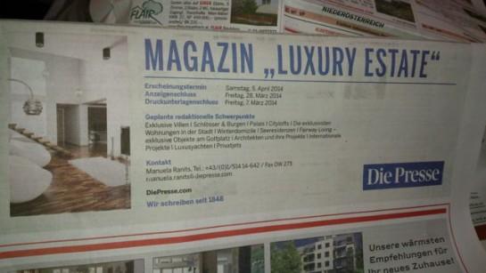 """Die Beilage der Tageszeitung DiePresse gibt Einblick in Luxusresidenzen in der Stadt. """"Luxury Estates"""" zeigt die """"exklusivsten Wohnungen in der Stadt"""". Frühjahr 2014."""